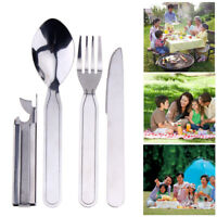 4 in 1 Portable Spoon Fork Knief Opener Camping Outdoor Picnic Tableware R1BO