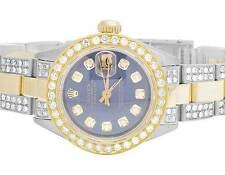 Ladies Rolex Datejust Two Tone 18K/ S.Steel 26MM Blue Dial Diamond Watch 6.0 Ct