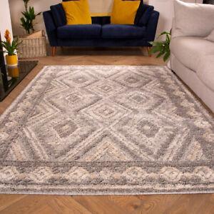 Grey Geometric Rugs for Living Room | Luxurious Loop & Tuft Shaggy Rug | Cheap