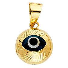 14K Yellow Gold Evil Eye Fluted Pendant Charm