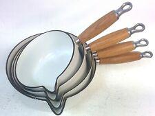 Genuine Le Creuset  Pan Set White Cast Iron Saucepans Pots With Lids x5 #112