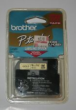 """3/8"""" (9mm) GOLD P-touch M Tape for Brother Home & Hobby Labeler"""