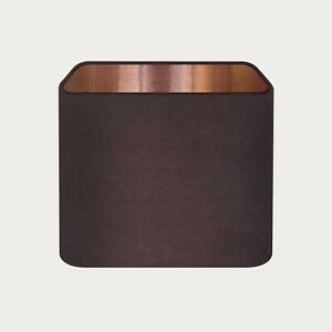 Lampshade Chocolate Brown Textured 100% Linen Brushed Copper Rounded Square