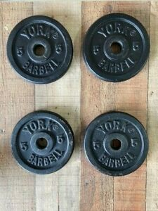 """Vintage York 5 lb Plates 1"""" Barbell Weight Lifting Plate (20 lb total) 4 plates"""