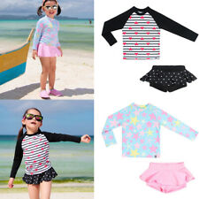 Kids Girls Long Sleeve UV Sun Swimsuit Rash Guard Surfing Bathing Swimwear 2-9Y