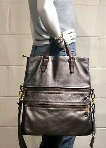 Lg FOSSIL EXPLORER Foldover Crossbody  Messenger Shoulder Bag METALLIC