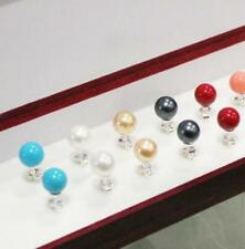 Fashion 5Pairs  8mm AAA Multicolor South Sea Shell Pearl Silver Stud  Earring