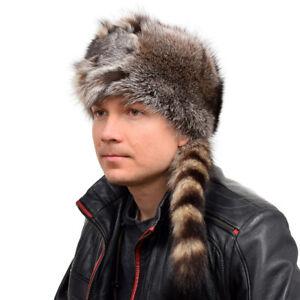 Genuine Men's Raccoon Fur Trapper Hat With Tail & Head Winter Cap Ski Real Fur