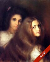 "Beautiful VICTORIAN Lady LONG HAIR CANVAS Giclee Art Print LARGE 13/"" x 19/"""