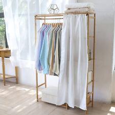 Offener Garderobenständer Kleiderständer Bambus Kleiderstange mit Ablage Vorhang