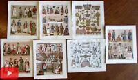 Sweden Swedish culture c.1880 Dress historical fashion prints lot x 7 Racinet