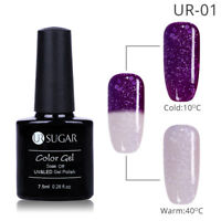 7.5ml UR SUGAR Snowflake Thermal UV Gel Nail Polish Purple Soak Off Glitter Gel