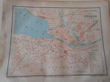 Plan Map de la ville de Zurich ( suisse ) 1877