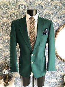 Men's Vtg 1980s Brook Taverner Green Preppy Mod Club Blazer Suit Jacket Medium