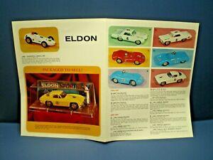 ELDON Early 60's single sided gate folded  slot car line up dealer sales flyer