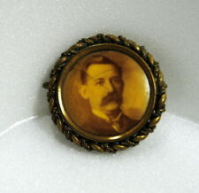 Antique Victorian Man With Mustache Tie Photo Mourning Memorial Brooch No Pin