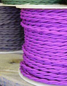 Purple Cloth Covered Twisted Electrical Wire 25 ft - Lamp Cord - Steampunk Retro