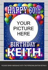 Happy Birthday Banner Poster Personalised Name 18th 21st 30th 50th 60th (TP162)
