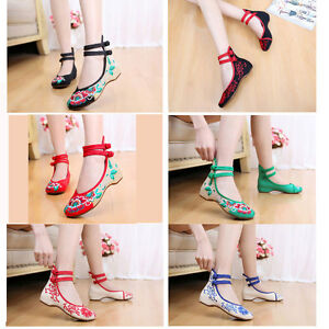Women Chinese Old Beijing Wedges Embroidered satin Shoes Casual Dance flat Shoes