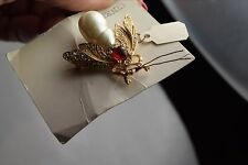 CINER VINTAGE NEW WITH TAG BROOCH 1980'S PEARL/ RS  BEE  GREAT 4 MOTHERS DA