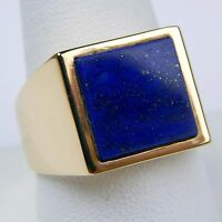 Lapis Lazuli  Square Flat Slab Gents Ring 18 kt Yellow Gold Size 11 #9858