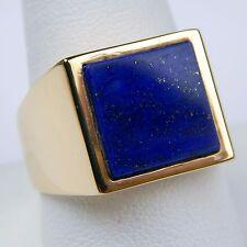 Lapis Lazuli  Square Flat Slab Gents Ring 18 kt Yellow Gold Size 11 #9858
