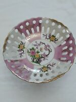 Antique porcelain opalescent Fruitbasket Pink, White and Gold Rimmed Round
