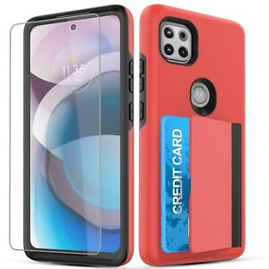 For Moto One 5G Ace wallet Case with Card Holder Slot + Screen Protector