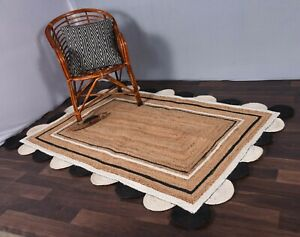 modern vintage jute rug beige & white/black colour rug scalloped square jute rug