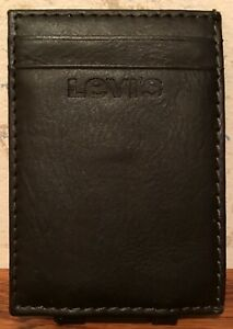 Levi's Brown Leather Magnetic Money Clip Card Holder USED Great Cond FREE SHIP