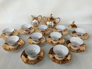 25 pieces VTG Rieber Mitterteich Bavaria German gold romance porclain coffee set