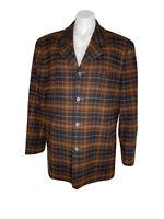 Haspel Mens 40 Regular English Gentlemens Lined Plaid Wool Blend Coat