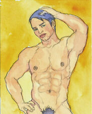 ORIGINAL MALE NUDE Watercolor - RAFA - by GERMANIA