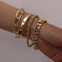 4pcs Bracelet Set Thick Bangle Chain Boho Fashion Jewellery Gold Silver Colour