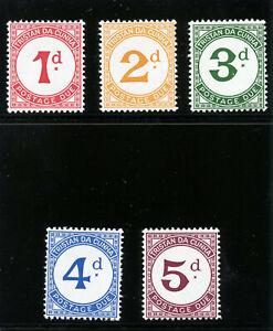 Tristan Da Cunha 1957 QEII Postage Due set complete MNH. SG D1-D5. Sc J1-J5.