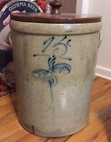 Antique 15 Gallon Cobalt Blue Crock Stoneware With Original Wooden Lid