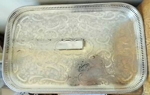 SUPERB VINTAGE SHEFFIELD SILVER PLATED RECTANGULAR GALLERY BUTLERS TRAY Bun Feet