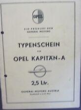 * Opel Kapitän A 1965  Österreichischer Typenschein SAMMLER *