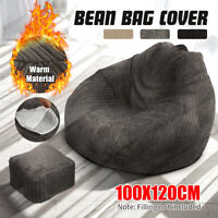XXL Large Jumbo Cord Fuzzy Kids Adult Bean Bag Gamer Beanbag Gaming Chair Cover