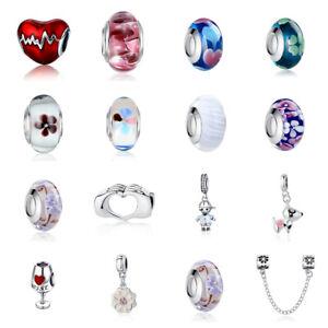 BAMOER Fashion European Charm Glass CZ Bead Fit Women Bracelet Necklace Jewelry