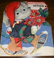 The Wishing Well 1950's Merry Christmas Nephew Vintage Greeting Card Used