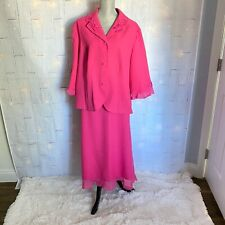 Samantha Rose Size 20W Pink Skirt Suit 2 Pieces Embroidered Ruffle Edge Sleeves