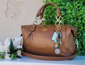 Coach Colette Leather Carryall Satchel Bag F33806 saddle brown purse handbag EUC