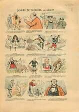 Caricature Anti Maçonnique Devoir de Vacances Laïque France 1905 ILLUSTRATION