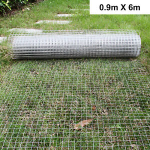 """1""""x1"""" Welded Wire Mesh Aviary Fence Chicken Rabbit Garden Galvanised 0.9x6M UK"""