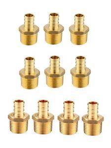 "10 PCS 1/2"" PEX x 1/2"" Male NPT Threaded Adapters Brass  Fittings(LEAD-FREE)"