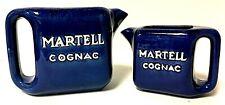 Vintage Pair Of Martell Cognac Blue Ceramic Jug Bar Water Pitcher France Pottery