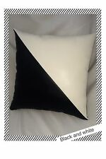 Accent Decorative leather pillow black white case cushion cover