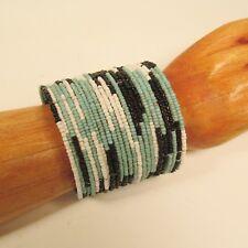 Blue White Black Color Tribal Boho Wide Cuff Handmade Bali Seed Bead Bracelet