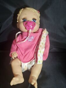 """Baby Alive ?  13"""" Sip n' Slurp Doll 2006 Hasbro Blinks Pacifier Big Blue Eyes"""